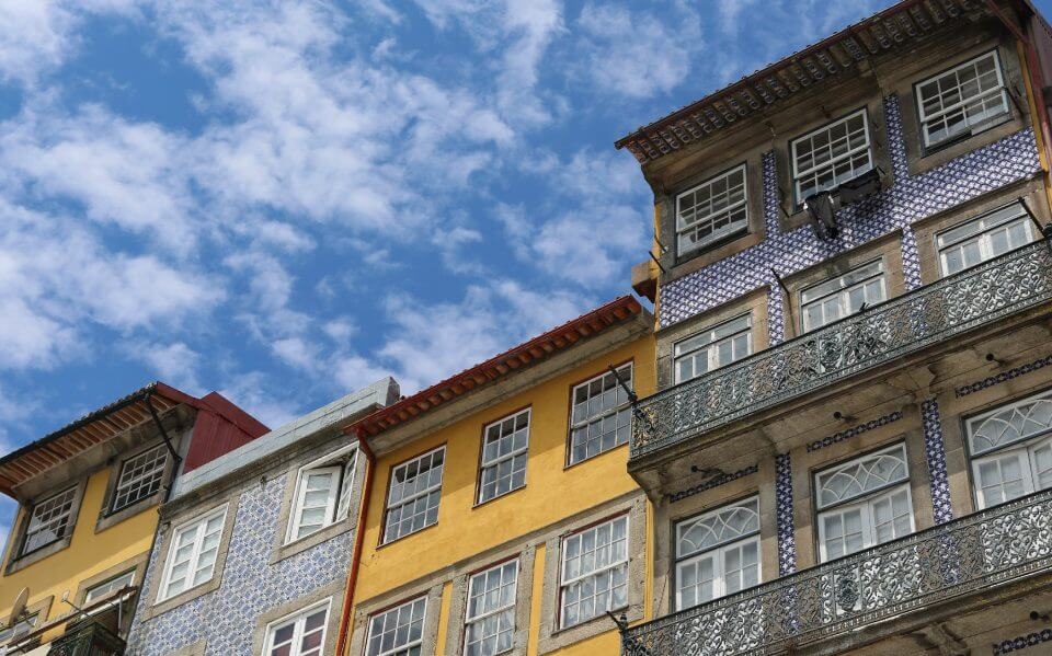 Tiled houses in Porto, Portugal